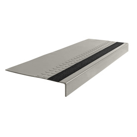 FLEXCO 12-in x 54-in Light Gray with Black Grit Strip Rubber Square Nose Stair Treads