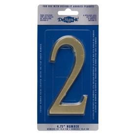 DeSign-it 6-in Polished Brass House Number 2