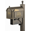 Whitehall 9-5/8-in x 59-1/2-in Metal Bronze Post Mount Mailbox with Post