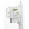 Whitehall 9-5/8-in x 59-1/2-in Metal White Post Mount Mailbox with Post