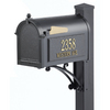 Whitehall 9-5/8-in x 55-in Metal Black Post Mount Mailbox with Post