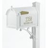 Whitehall 9-5/8-in x 55-in Metal White Post Mount Mailbox with Post