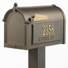 Whitehall 9-5/8-in x 52-in Metal Bronze Post Mount Mailbox with Post
