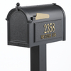 Whitehall 9-5/8-in x 52-in Metal Black Post Mount Mailbox with Post