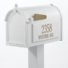 Whitehall 9-5/8-in x 52-in Metal White Post Mount Mailbox with Post