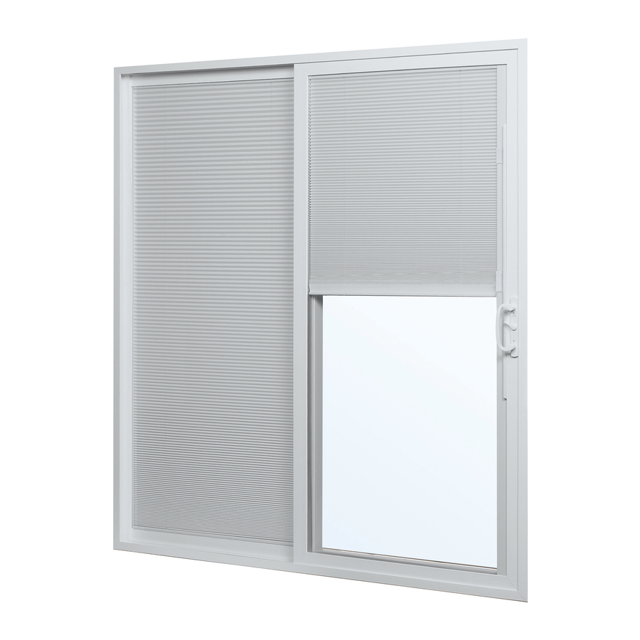 75 in blinds between the glass vinyl sliding patio door at
