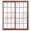 ReliaBilt 312 Series 70.75-in Grilles Between the Glass Cherry Int/White Ext Vinyl Sliding Patio Door