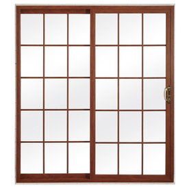 ReliaBilt 312 Series 70.75-in Grilles Between the Glass Cherry Int/White Ext Vinyl Sliding Patio Door