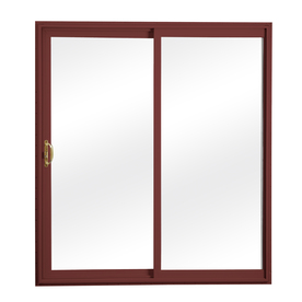 ReliaBilt 300 Series 70.75-in Clear Glass Wh Int/Red Ext Vinyl Sliding Patio Door with Screen