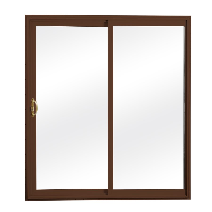 clear glass vinyl sliding patio door with screen at