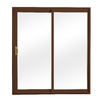 ReliaBilt 300 Series 70.75-in Clear Glass Wh Int/Chocolate Brown Ext Vinyl Sliding Patio Door with Screen