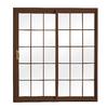 ReliaBilt 300 Series 70.75-in Grilles Between the Glass Wh Int/Chocolate Brown Ext Vinyl Sliding Patio Door with Screen
