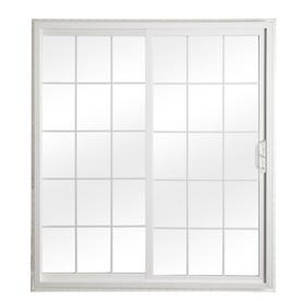 ReliaBilt 332 Series 70.75-in Grilles Between the Glass White Vinyl Sliding Patio Door with Screen