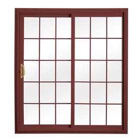 ReliaBilt 332 Series 70.75-in Grilles Between the Glass Wh Int/Red Ext Vinyl Sliding Patio Door with Screen
