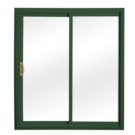 ReliaBilt 332 Series 58.75-in Clear Glass Wh Int/Green Ext Vinyl Sliding Patio Door with Screen