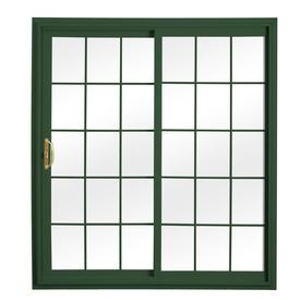 ReliaBilt 332 Series 70.75-in Grilles Between the Glass Wh Int/Green Ext Vinyl Sliding Patio Door with Screen