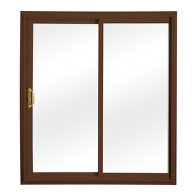ReliaBilt 332 Series 58.75-in Clear Glass Wh Int/Chocolate Brown Ext Vinyl Sliding Patio Door with Screen