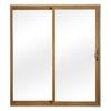 ReliaBilt 300 Series 59.75-in Clear Glass Light Oak Int White Ext Vinyl Sliding Patio Door with Screen