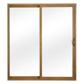 ReliaBilt 300 Series 70.75-in Clear Glass Light Oak Int White Ext Vinyl Sliding Patio Door with Screen