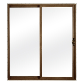 ReliaBilt 300 Series 70.75-in Clear Glass Dark Oak Int White Ext Vinyl Sliding Patio Door with Screen