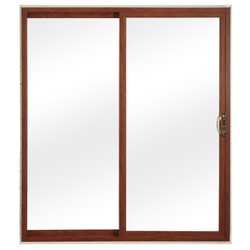 ReliaBilt 300 Series 59.75-in Clear Glass Cherry Int White Ext Vinyl Sliding Patio Door with Screen