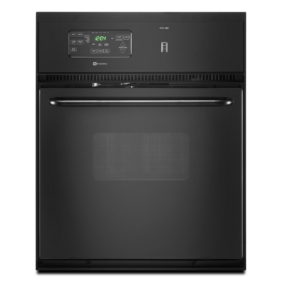 Maytag Self-Cleaning Single Electric Wall Oven (Black) (Common: 24 ...