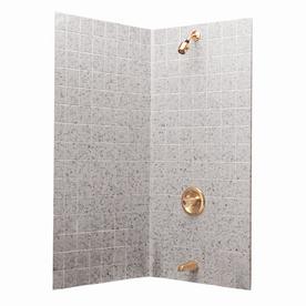 Aqua Glass Tilekit 60-in W x 30-in D x 60-in H High Gloss White Granite Polystyrene Bathtub Wall Surround