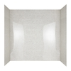 Aqua Glass Tilekit 60-in W x 30-in D x 60-in H High Gloss Beige Marble Polystyrene Bathtub Wall Surround