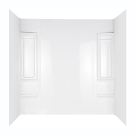 Aqua Glass Tall Elite 60-in W x 31-in D x 80-in H High Gloss White Polystyrene Bathtub Wall Surround