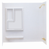 Aqua Glass Reversible 60-in W x 30-in D x 58-in H High Gloss White Polystyrene Bathtub Wall Surround