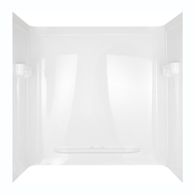 Aqua Glass Seamless 60-in W x 32-in D x 60-in H High Gloss White Polystyrene Bathtub Wall Surround