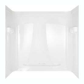 Aqua Glass Seamless 60-in W x 32-in D x 60-in H High Gloss White Polystyrene Bathtub Wall Surround