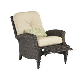 Foremost Casual Holbert All-Weather Wicker Patio Recliner with Solid Tan Cushion