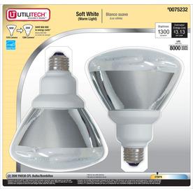 Utilitech 2-Pack 26-Watt (90W Equivalent) 2,700K PAR38 Soft White Outdoor CFL Bulbs