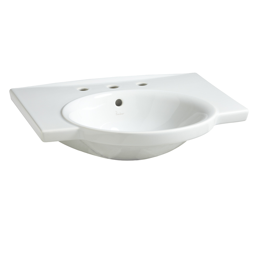 shop porcher veneto white fire clay wall mount rectangular bathroom sink with overflow at
