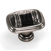 Laurey 1-3/8-in Black leather with Silverado Sirocco Rectangular Cabinet Knob