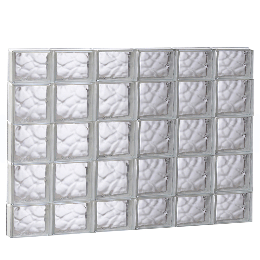Shop redi2set 48 in x 36 in wavy pattern series frameless for Glass blocks for crafts lowes