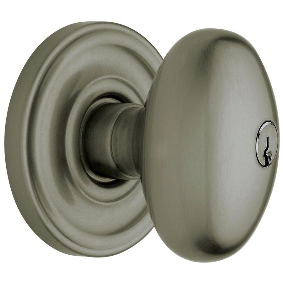 Shop BALDWIN Egg Antique Nickel Egg Keyed Entry Door Knob At