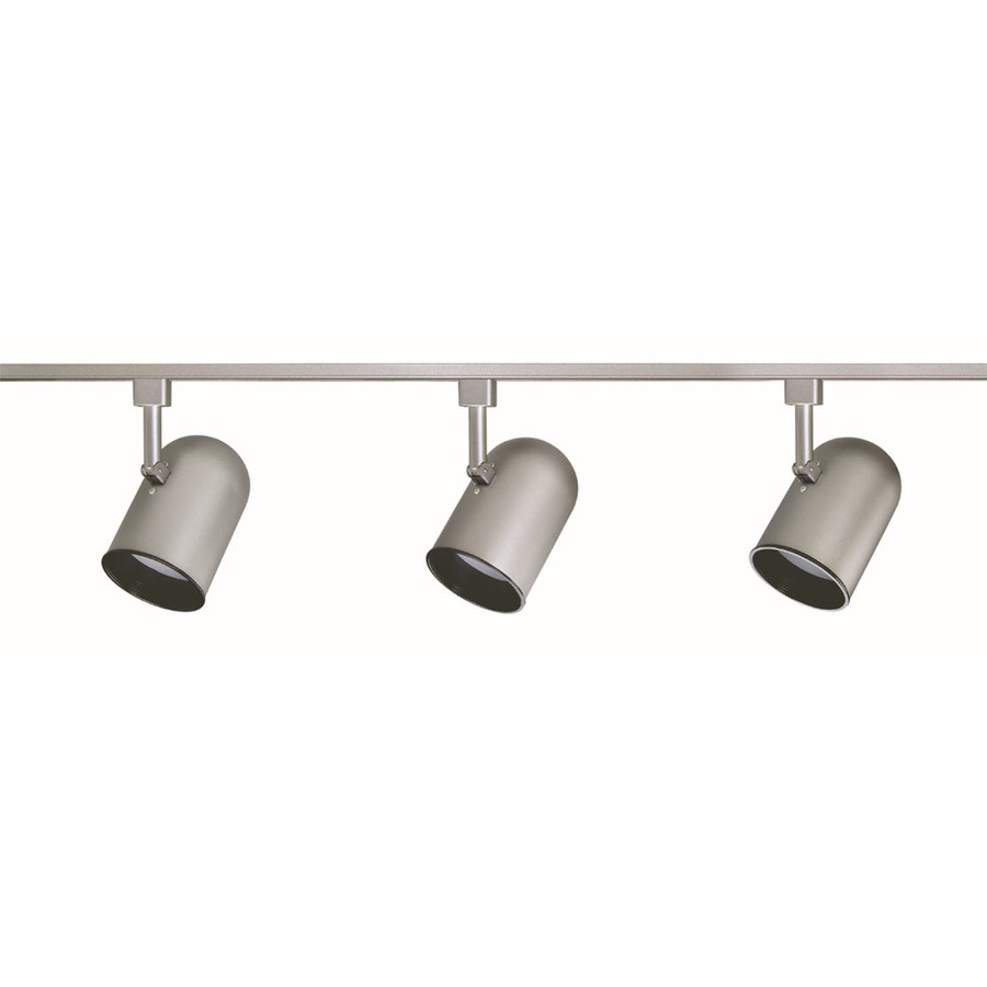 pacific 3 light brushed aluminum roundback linear track lighting kit. Black Bedroom Furniture Sets. Home Design Ideas
