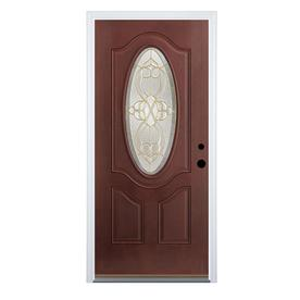 Therma-Tru Benchmark Doors Willowbrook 2-Panel Insulating Core Oval Lite Left-Hand Inswing Dark Mahogany Fiberglass Stained Prehung Entry Door (Common: 36-in x 80-in; Actual: 37.5-in x 81.5-in)