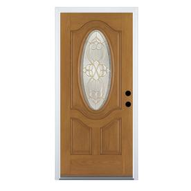 Benchmark by Therma-Tru 36-in Oval Lite Decorative Medium Oak Inswing Entry Door