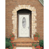 Therma-Tru Benchmark Doors Varissa 2-Panel Insulating Core Oval Lite Left-Hand Inswing White Fiberglass Primed Prehung Entry Door (Common: 36-in x 80-in; Actual: 37.5-in x 81.5-in)