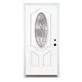 Benchmark by Therma-Tru 36-in Oval Lite Decorative Inswing Entry Door