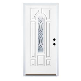 Therma-Tru Benchmark Doors TerraCourt 8-Panel Insulating Core Center Arch Lite Left-Hand Inswing White Fiberglass Primed Prehung Entry Door (Common: 36-in x 80-in; Actual: 37.5-in x 81.5-in)