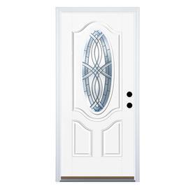Therma-Tru Benchmark Doors TerraCourt 2-Panel Insulating Core Oval Lite Left-Hand Inswing White Fiberglass Primed Prehung Entry Door (Common: 36-in x 80-in; Actual: 37.5-in x 81.5-in)