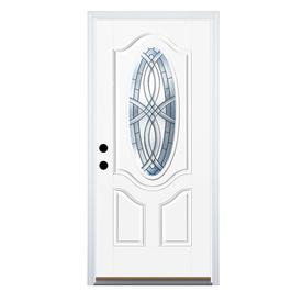 Therma-Tru Benchmark Doors TerraCourt 2-Panel Insulating Core Oval Lite Right-Hand Inswing White Fiberglass Primed Prehung Entry Door (Common: 36-in x 80-in; Actual: 37.5-in x 81.5-in)