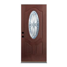 Benchmark by Therma-Tru 36-in Oval Lite Decorative Mahogany Inswing Entry Door