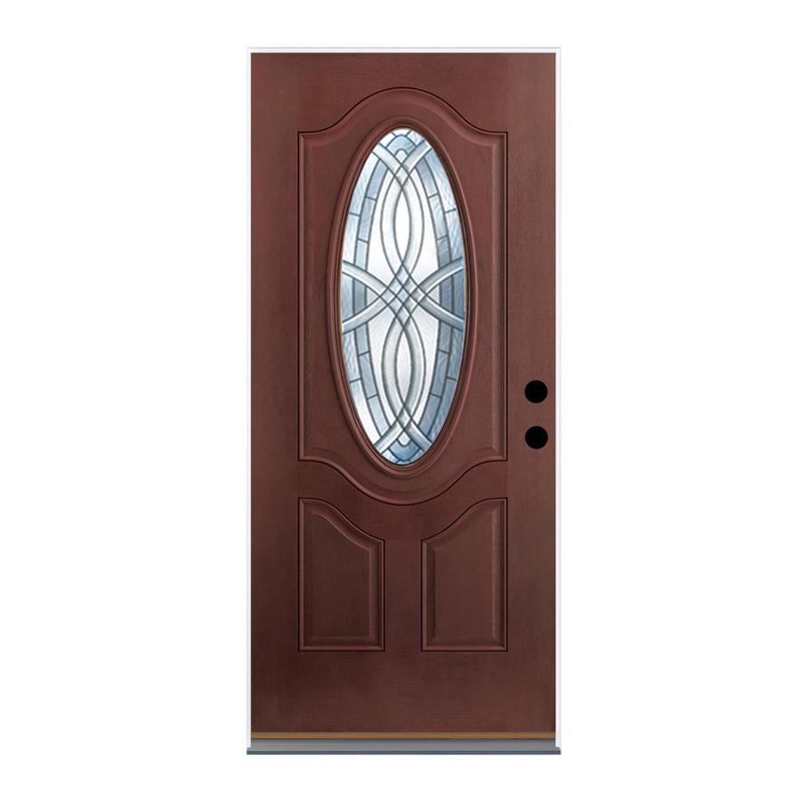 Shop Therma Tru Benchmark Doors Oval Lite Decorative Mahogany Inswing Fiberglass Entry Door