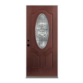 Therma-Tru Benchmark Doors Star 2-Panel Insulating Core Oval Lite Right-Hand Inswing Dark Mahogany Fiberglass Stained Prehung Entry Door (Common: 36-in x 80-in; Actual: 37.5-in x 81.5-in)