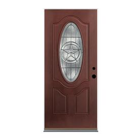 Therma-Tru Benchmark Doors Star 2-Panel Insulating Core Oval Lite Left-Hand Inswing Dark Mahogany Fiberglass Stained Prehung Entry Door (Common: 36-in x 80-in; Actual: 37.5-in x 81.5-in)